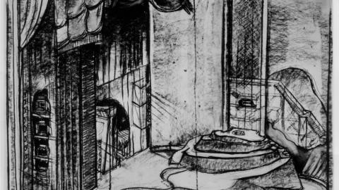 Sketch of the set design for Kurt Weill's The Eternal Road