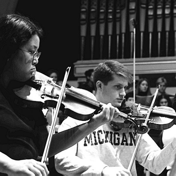 Members of the University of Michigan Symphony Orchestra and Opera Chorus