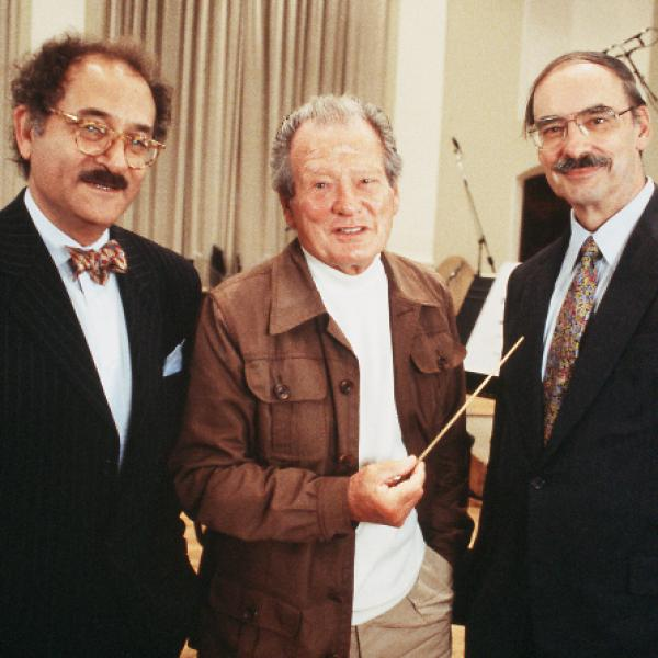 Milken Archive artistic director Neil W. Levin, with Sir Neville Marriner and composer Thomas Beveridge